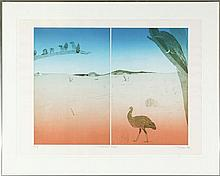 Peter Bond Emu-Eagle I & II + Australian Birds Collection (3 panels) Each colour etching