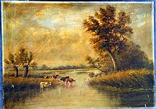 H Thompson Cattle Drinking 1912 Oil on canvas
