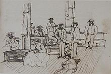 Artist Unknown  Passengers on a Ship's Deck Ink on paper