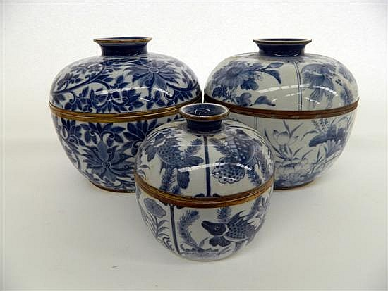 Three Contemporary Blue and White Lidded Jars