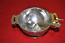 A sterling silver two handled sugar bowl and matching spoon, by JA Linton