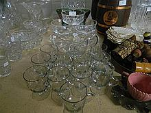 Two cut crystal bowls, together with toddy glasses, studio glass rummers and set of glace dishes