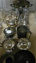 Asserted silver plate, tankards, serving dish etc