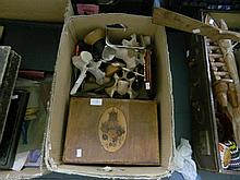 Collection of Natural History Curios and Others together With Vintage Tin Paint Tray, Paintings, Paint Boxes and Others in two boxes