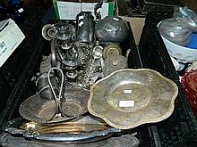 Box assorted EP Ware incl teapot, candelabra etc