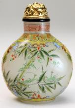 A Fine Chinese Overglaze Enamel Snuff Bottle on Translucent Glass, four character mark to base