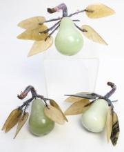 Three Carved Green Jade Pears with Contrasting Agate Leaves