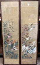 Two Chinese Framed Scrolls on Silk, painted with Pheasants & Eagles, Republic Period