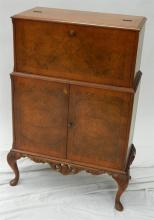 A Reproduction Burr Walnut Veneered Cocktail Cabinet