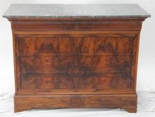A 19th Century Continental marble top four drawer commode