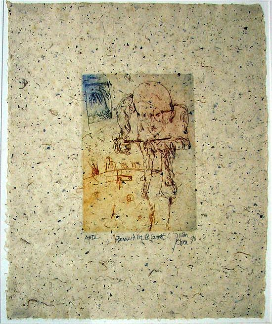 John Henry Olsen (b.1928) Bonnard at Le Cannet 1990 Colour etching on Japanese paper ed. AP IV