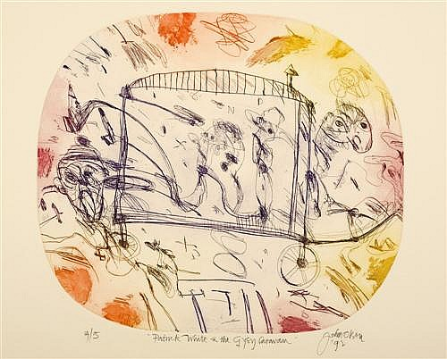 John Olsen (b.1928) Patrick White & the Gypsy Caravan 1992 Colour etching ed 14/15