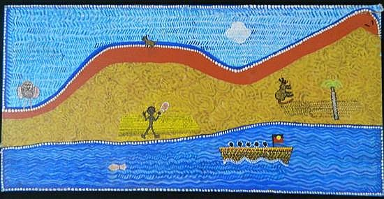 Trevor Nickolls (b.1949) Roving in Thomas Country Acrylic on canvas