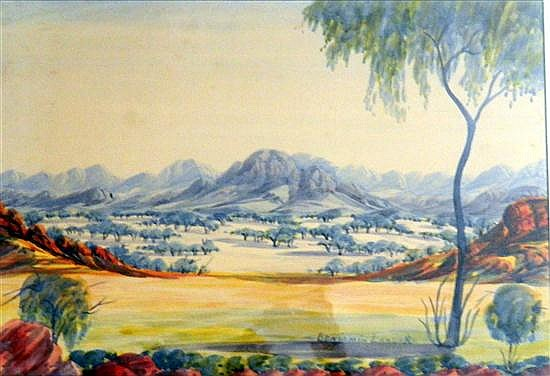 Benjamin Landara (1921-1985) The MacDonnell Ranges Watercolour