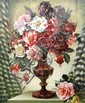 Adrian George Feint (1894-1971) Red Still Life, Roses & Fuschias 1947 Oil on canvas