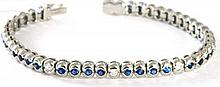 18ct White Gold Diamond and Sapphire In-Line 'Tennis' Bracelet
