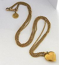 A gold chain with pendants