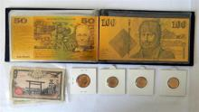 An Australian gold plated paper bank note set plus three Australian $2 coins 2012 & $1 2014 & Japanese notes