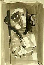 Kevin Connor (b.1932) Study face in the Street 1962 Ink & brush