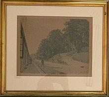 Adolphe Larsen (1856-1942) Danish Street Sweeper 1913 Etching