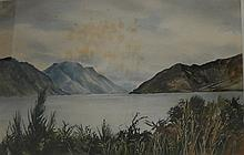 Robert J Miller Lake Scene, New Zealand 1974 Watercolour