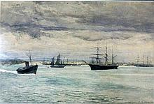 Julian Rossi Ashton (1851-1942) Ships at Anchor, Williamstown Watercolour