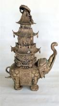 A Large Chinese Metalwork Elephant