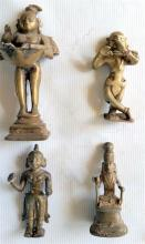 Four Indian Jungely Brass Figures
