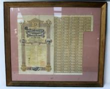 A Framed Chinese Bank Certificate