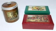 Two jewellery boxes and miniature wooden ice bucket all with applied graphics