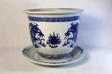 A Large Chinese Porcelain Planter & Saucer Dish, 20th century