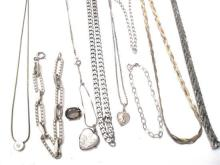 A Collection of Sterling Silver Jewellery including Bracelets, Chains,