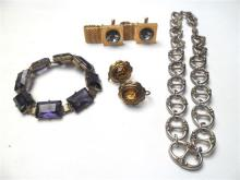 A Pair of Gilt Paste Cufflinks, a Pair of Paste Earrings, a Gilt Paste Bracelet and a Silver Gucci Link Necklace,