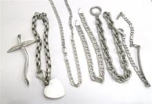 A Collection of Sterling Silver Jewellery including Chains, Bracelet, Cross,