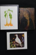 Icon, reproduction + Whiteley print + Trumpet flower drawing (3)