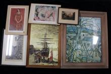 A Collection of Five Pictures Including a Suzanne Valadon print, a lithograph, an etching & an oil painting of a Ship in Port (6)
