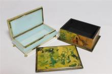 Two elegant jewellery boxes including one lacquered wooden with Oriental decoration, and another glass with floral print