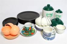 A collection of ceramics consisting of tea cups & saucers, dinner & side plates, & jars [26]