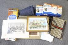 An assortment of homewares including artworks, pillow cases, AquaRugs, Hercules furniture lifter and sliders, bag and lamp shades