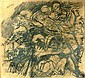 John de Burgh Perceval (1923-2000) The Gypsies & the Angel 1947 Pencil