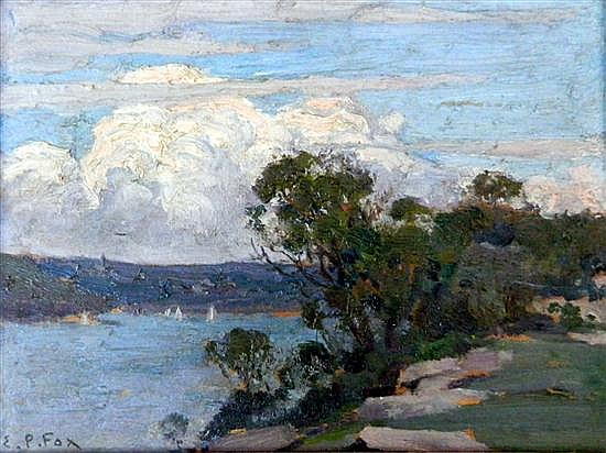 Emanuel Phillips Fox (1865-1915) Sydney Harbour from Cremorne Point Oil on panel