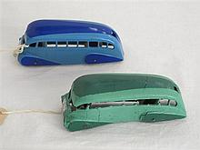 Two Dinky Toy 29B Early Post-war Streamlined Buses