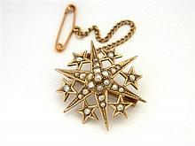 An Australian 9ct Yellow Gold Seed Pearl Star Brooch