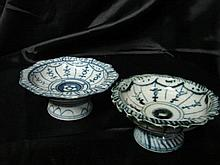 Two Chinese Blue and white footed dishes
