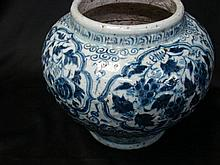 A Large Chinese Blue and White Pot