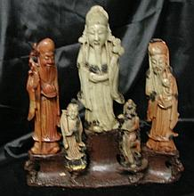 Five Chinese Soapstone figures on stand
