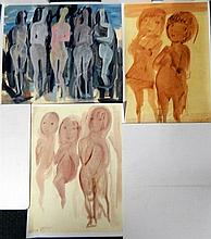 Ralph Trafford Walker (1912-2003) Standing Figures + Three Children + Two Children (3) Art prints, printed for solo exhibition in Be...