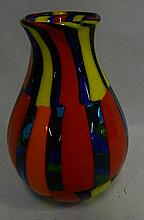 A signed Murano contemporary multi coloured vase