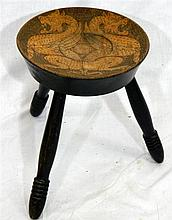 A milking stool with poker work seat