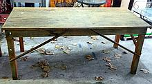 An Industrial timber work bench with steel re-enforcing